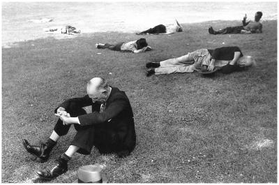 "Henri Cartier-Bresson ""Men Laying on Grass, Boston, Massachussetts, USA"" (1947)"