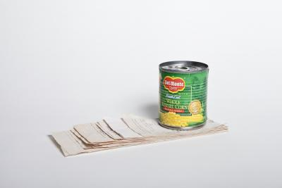 Nobutaka Aozaki, Value Added 240950 (Del Monte whole kernel corn no salt added) , 2012 Canned corn and receipts