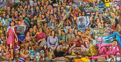 Detail of The Curatorman (2004), by Nawin Rawanchaikul,with portraits of personalities of the Bangkok art scene Courtesy of MAIIAM
