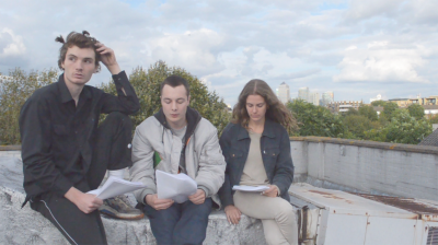 Paul Kneale Still from SEO and Co , 2014 Digital video, 30 min., looped From leftto right: Oscar Khan, Harry Burke, Nina Cristante