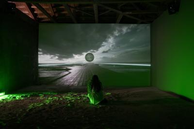 "Jakob Kudsk Steensen, Aquaphobia (2017). Courtesy of the artist. Installation view fromAthens Biennale 7: ""ECLIPSE"". Photo: Nysos Vasilopoulos"