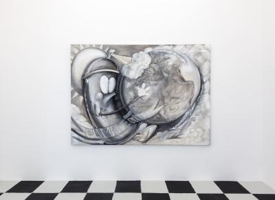 Geoengineeringwatch.org, 2016,Gesso and charcoal on canvas, 230 x 166 cm