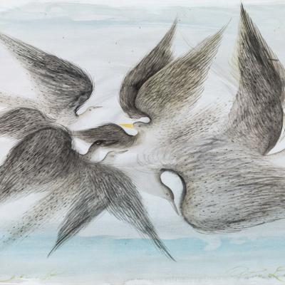 Anton Lehmden, Vogelflug , 2001, watercolor on paper, 30× 42.6 cm