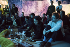Ying Le and PaulSochacki serving tea inside Reto Pulver's installation Dehydrated Landscape of a Condition (2007–2015)at Haus Der Kulturen der Welt, 2015 © Sebastian Bolesch for HKW