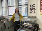 CBA Executive Director Corina Reynolds in the letterpress studio.