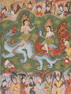 Folio of Adam and Eve expelled from paradise from the Dispersed Falnama (Book of Omens), ca. 1550. Arthur M. Sackler Gallery, Washington, DC.