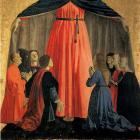 Detail from Piero della Francesca, Madonna della Misericordia, Polyptych of the Misericordia , 1462