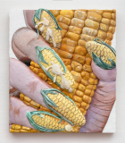 Corn Nails , 2019 Acrylic on linen on panel, 76 x 66 cm  All images: Courtesy of the artist and Marianne Boesky Gallery, New York and Aspen