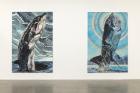 Installation view, Galerie Neu, Berlin, 2019 Left:Jana Euler, GWF 8 , 2019 Oil on canvas, 300 x 200 cm Right:Jana Euler, GWF 6 , 2019 Oil on canvas, 300 x 200 cm Photo: Dianna Pfammatter. Courtesy the artist and Galerie Neu, Berlin