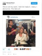 Screenshot of Richard Prince`s Tweet