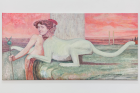 Soshiro Matsubara, The Caresses , 2020, oil on canvas, 67×135×2cm