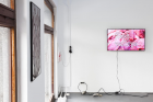 Lukas Posch, Die Nerven (getwellsoon), 2017,Acrylicon glass, aluminium, wood, 82 x 46 cm Eoghan Ryan Clamdigger, 2015, HDvideo,7.55 min,Courtesy of the Artist