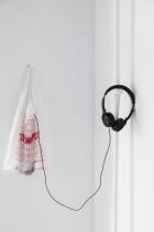 """Noele Ody Thank You, Fuck You, 2012,Plastic bag """"Thank You"""", Mp3 player with looped song, headphones"""